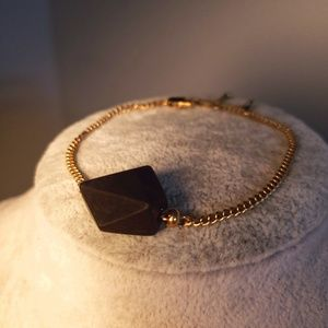 Trunk Club Gold Bracelet with Black Stone